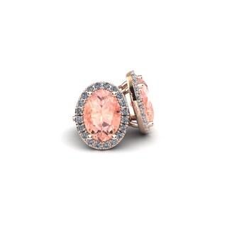 14k Rose Gold 2 1/2ct Oval Shape Morganite and Halo Diamond Stud Earrings
