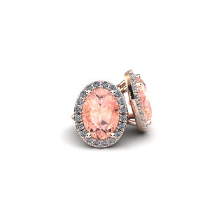 10k Rose Gold 2 1/2ct Oval Shape Morganite and Halo Diamond Stud Earrings