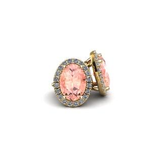 14k Yellow Gold 2 1/2ct Oval Shape Morganite and Halo Diamond Stud Earrings