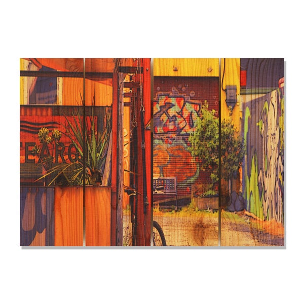 Garden Graffiti 22 5x16 Indoor Outdoor Full Color Cedar Wall Art