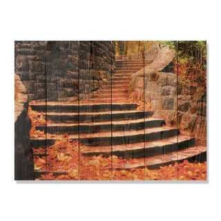 Fall Steps 33x24 Indoor/ Outdoor Full Color Cedar Wall Art