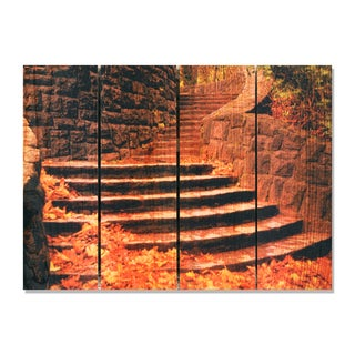 Fall Steps 22.5x16 Indoor/ Outdoor Full Color Cedar Wall Art