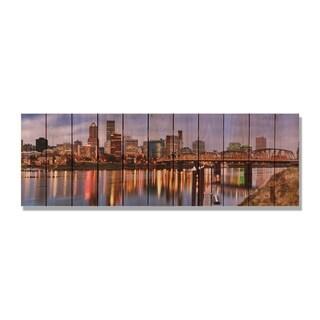 City Skyline 62x20 Indoor/ Outdoor Full Color Cedar Wall Art