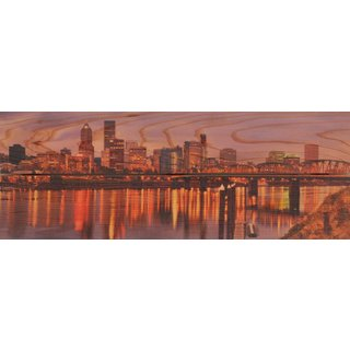 City Skyline 32x11 Indoor/ Outdoor Full Color Cedar Wall Art