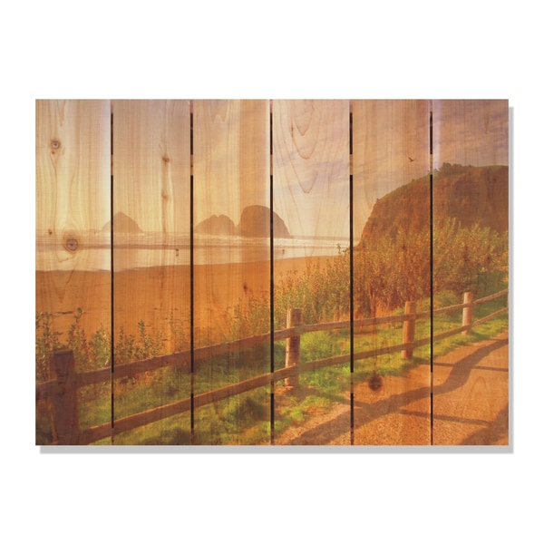 Coastal Stroll 33x24 Indoor Outdoor Full Color Cedar Wall Art