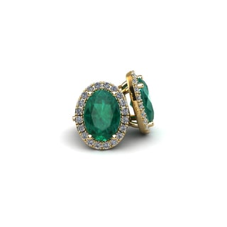 14k Yellow Gold 2 1/2ct Oval Shape Emerald and Halo Diamond Stud Earrings