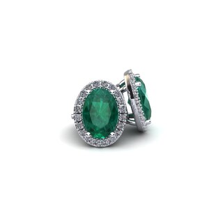 14k White Gold 2 1/2ct Oval Shape Emerald and Halo Diamond Stud Earrings
