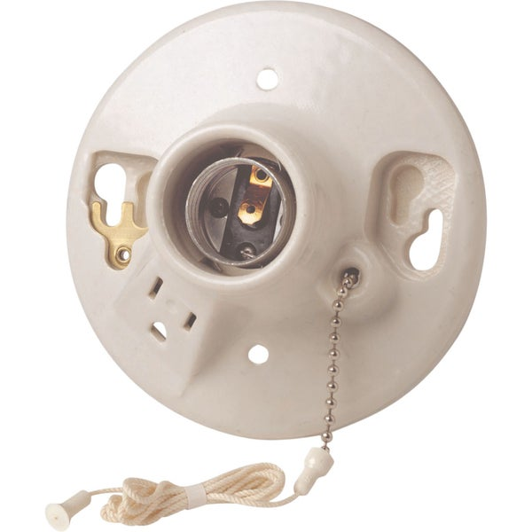 Leviton R60-09726-00C Porcelain Grounded Pull Chain Lampholders & Side Outlet