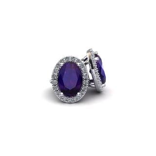 14k White Gold 2 2/5ct Oval Shape Amethyst and Halo Diamond Stud Earrings