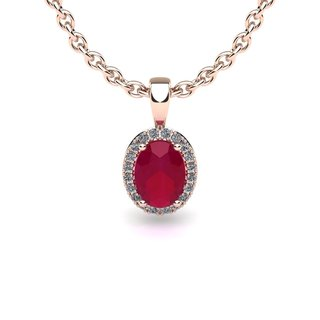 14k Rose Gold 1 3/4ct Oval Shape Ruby and Halo Diamond Necklace