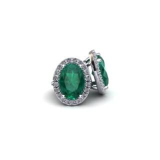 14k White Gold 1ct Oval Shape Emerald and Halo Diamond Stud Earrings
