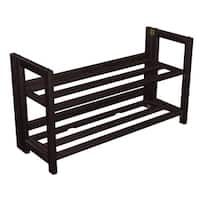 "No Assembly Espresso Two Shelf Folding Shoe Rack Organizer (28"" Wide)"