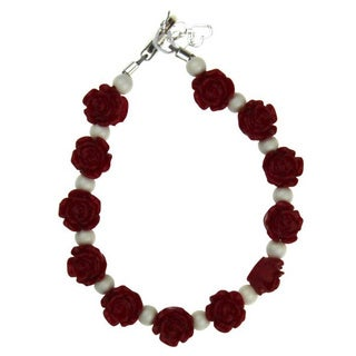 Adorable Red Flowers with White Pearls Baby Bracelet