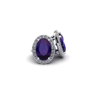 10k White Gold 1ct Oval Shape Amethyst and Halo Diamond Stud Earrings