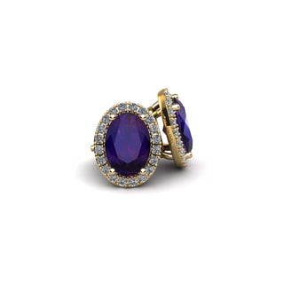 14k Yellow Gold 1ct Oval Shape Amethyst and Halo Diamond Stud Earrings