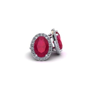 14k White Gold1 1/4ct Oval Shape Ruby and Halo Diamond Stud Earrings In 14k White Gold
