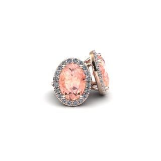14k Rose Gold1ct Oval Shape Morganite and Halo Diamond Stud Earrings In 14k Rose Gold