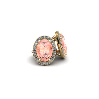 14k Yellow Gold1ct Oval Shape Morganite and Halo Diamond Stud Earrings In 14k Yellow Gold