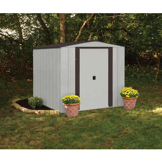 "Arrow Newburgh Galvanized Steel Shed 6' x 5' with 60"" Wall Height With sliding doors / NW65"