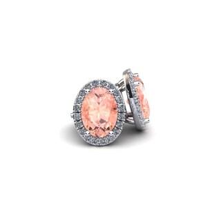 14k White Gold1ct Oval Shape Morganite and Halo Diamond Stud Earrings In 14k White Gold