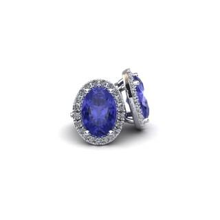 14k White Gold 1 1/4 TGW Oval Shape Tanzanite and Halo Diamond Stud Earrings In 14k White Gold