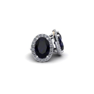 14k White Gold1 1/3ct Oval Shape Sapphire and Halo Diamond Stud Earrings In 14k White Gold