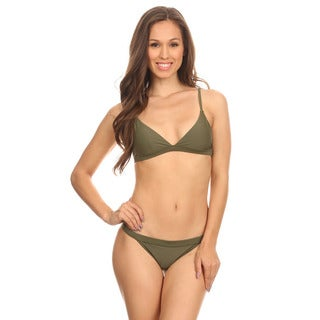 Dippin' Daisy's Green Olive Two-Piece Over-the-Shoulder Triangle Top with Banded Bottom