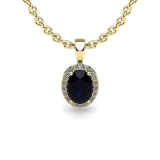 10k Yellow Gold 0.67ct Oval Shape Sapphire and Halo Diamond Necklace with 18-inch Chain