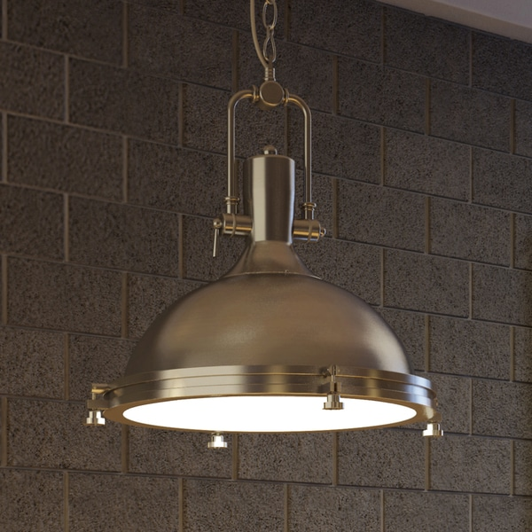 Vonn Lighting Dorado 16-inches LED Pendant Light Adjustable Hanging Industrial Pendant Lighting in Satin & Vonn Lighting Dorado 16-inches LED Pendant Light Adjustable ... azcodes.com
