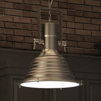 VONN Lighting Dorado VVP21041SN 11-inch LED Pendant Adjustable Hanging Satin Nickel Industrial Lighting with Ribbing
