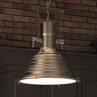 VONN Lighting Dorado VVP21041SN 11-inch LED Pendant Adjustable Hanging Satin Nickel Industrial Lighting with Ribbing