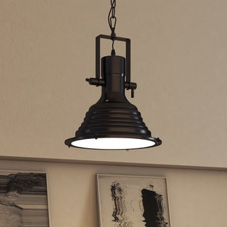 Vonn Lighting Dorado LED Pendant Light Adjustable Hanging Industrial Pendant Lighting with Ribbing in Architectural Bronze