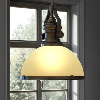 Vonn Lighting Dorado LED Pendant Light Adjustable Hanging Industrial Pendant Lighting with Glass Shade in Architectural Bronze