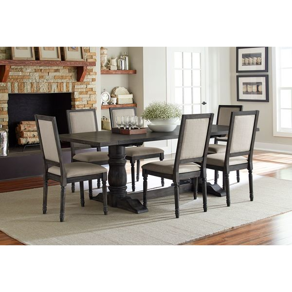 Muses Weathered Pepper Finish Rectangle Dining Table