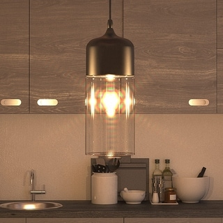 Vonn Lighting Delphinus LED Pendant Light Adjustable Hanging Industrial Pendant Lighting with LED Filament Bulb in Black