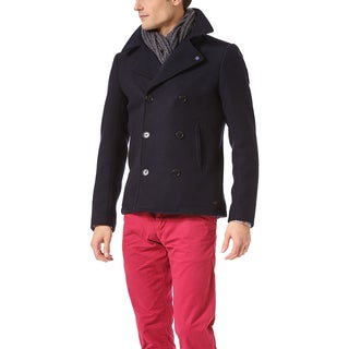 Scotch & Soda Men's Blue Wool Peacoat (Size XL)