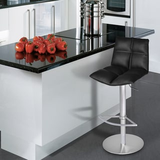 Armen Living Roma Barstool in Brushed Stainless Steel finish with Black PU upholstery