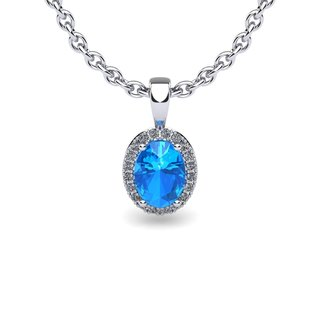 14k White Gold 3/5 TGW Oval Shape Blue Topaz and Halo Diamond Necklace with 18-inch Chain