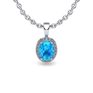 14k White Gold 1/2ct Oval Shape Aquamarine and Halo Diamond Necklace with 18-inch Chain
