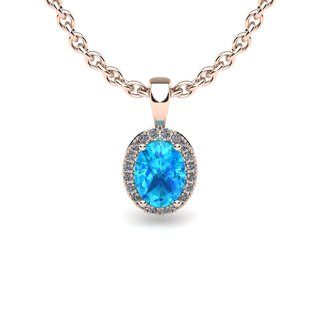 14k Rose Gold 1/2ct Oval Shape Aquamarine and Halo Diamond Necklace with 18-inch Chain