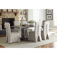 Muses Upholstered Grey Fabric Rubberwood Covered Parsons Chairs (Set of 2)