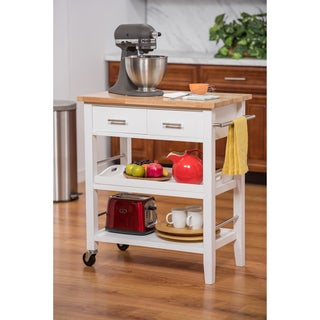White Wooden Kitchen Cart wtih Drawers and Tray