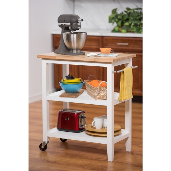 Kitchen Island Accessories: White Wooden Kitchen Cart