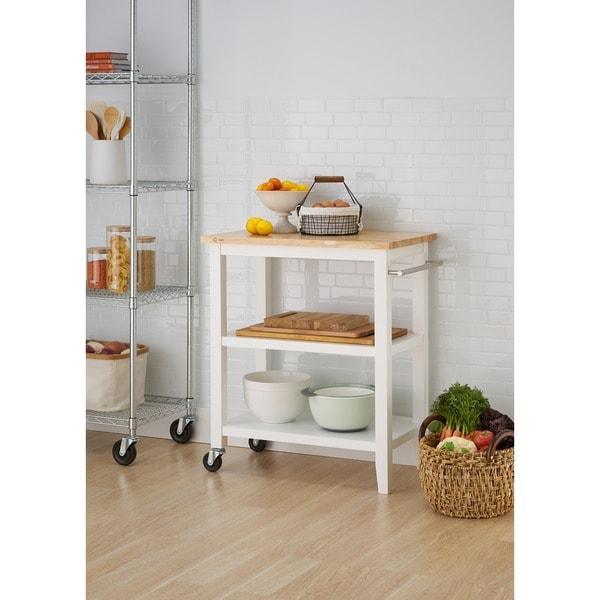 White Wooden Kitchen Cart