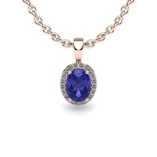 10k Rose Gold 3/5ct Oval Shape Tanzanite and Halo Diamond Necklace with 18-inch Chain