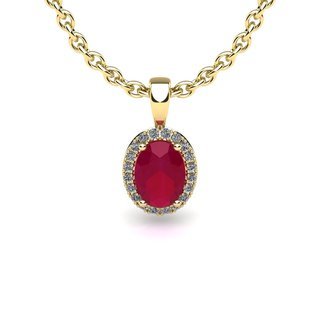 14k Yellow Gold 3/5 TGW Oval Shape Ruby and Halo Diamond Necklace with 18-inch Chain