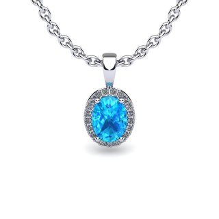 10k White Gold 1 1/3ct Oval Shape Aquamarine and Halo Diamond Necklace with 18-inch Chain