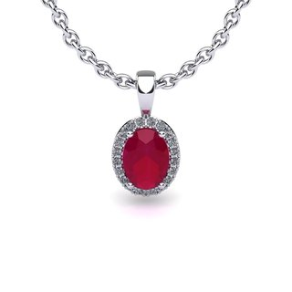 14k White Gold 3/5ct Oval Shape Ruby and Halo Diamond Necklace with 18-inch Chain