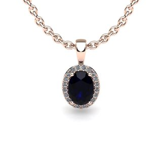 14k Rose Gold 0.67ct Oval Shape Sapphire and Halo Diamond Necklace with 18-inch Chain
