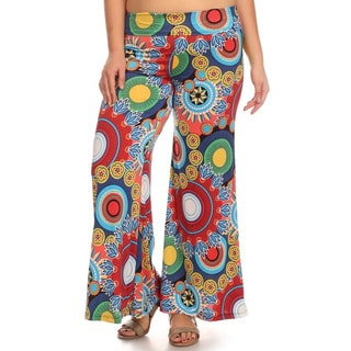 MOA Collection Plus Women's Pattern Palazzo Pants
